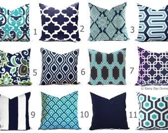outdoor pillows or indoor custom cover shades of blue navy aqua turquoise ocean white