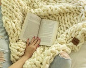 "FLASH SALE! // Chunky Knit Blanket // Chunky Knit Throw //  36"" x 55"" // Mist // Simply Maggie"