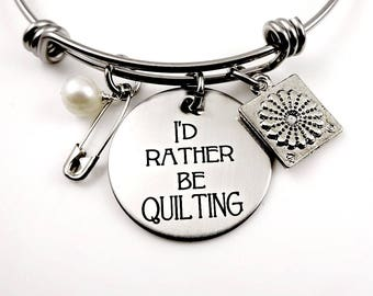 Quilter Bracelet - I'd Rather Be Quilting Bangle Bracelet or Necklace - Gift for Quilter - Quilt Square - Quilt Pins - Quilt Jewelry