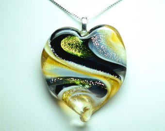 Lampworked Ribbon Stardust Art Glass Heart Pendant, Black and Amber with Gold and Silver Stardust