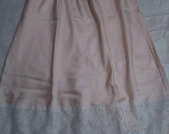 Vintage Christian Dior Pink Back Slit Half Slip Lace