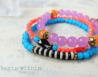 Boho Chic Bracelet Stack | Bohemian Tassel Bracelet | Colorful Bracelets
