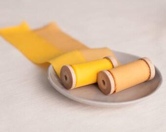 Gold silk ribbon, silk ribbon, silk ribbon set, hand dyed ribbon, Bouquet ribbon, vintage ribbon, gift wrap, floral wrap, ribbon, hand dyed