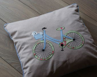 Bike Pillow Cover. Bike Pilow Case With A Puppy. Baby Girl Pilow. Room Decor.