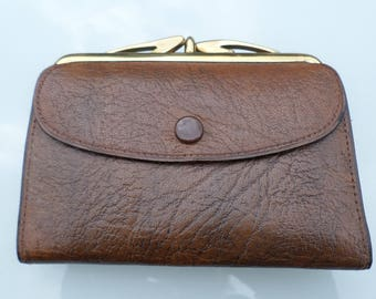 Vintage Leather purse , Brown leather gold tone clasp & Metal A frame 1950's