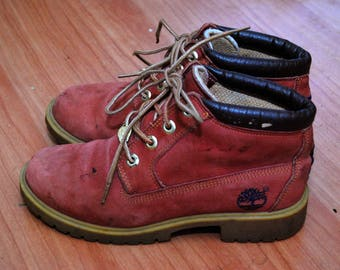 vintage TIMBERLAND BOOTS (6) red 90s leather suede hike camp outdoor outside men women shoes crimson cherry scarlet ruby rose hippy grunge