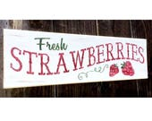 Fresh Strawberries Sign, Strawberry Sign, Strawberry Decor, Farmhouse Home Decor, Kitchen Sign, Hand Painted Sign, Epsteam, Shabby Chic Farm