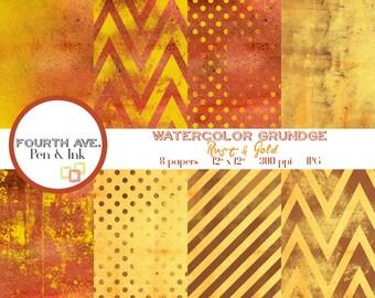 Gold and Rust Digital Paper, Watercolor, Gold and Rust, Grunge, Digital Paper, Digital Paper Pack, Digital Scrapbook