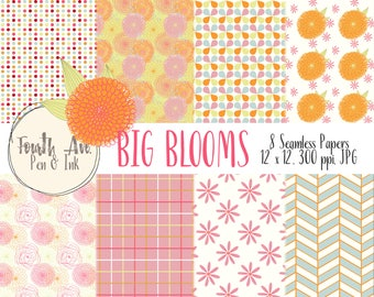 Floral Digital Paper, Colorful Flowers Digital Paper, Big Blooms Digital Paper, Bright, Colorful, Bridal, Nursery, Digital Paper Pack