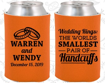 Wedding Rings, The Worlds Smallest Pair of Handcuffs, Personalized Wedding, Handcuffs, Wedding Rings, Wedding Can Coolers (504)