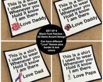 SETof 6 SEW ON Block Font Memory Patches - 4 Inch - Memory Pillows, Memory Quilts, This is a shirt, In Memory Of, Memory Patch