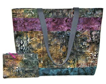 Quilted Tote Bag and Matching Zippered Pouch, Modern Batik Tote Bag Set, Grey Plum Blue Gold Abstract, Quiltsy Handmade