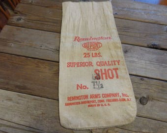 Vintage 1960's Remington Brand Cloth Lead Shot Bag, 25 lbs. - Vintage Shot Bag - Remington Lead Shot Bag - Remington Memorabilia - Hunting