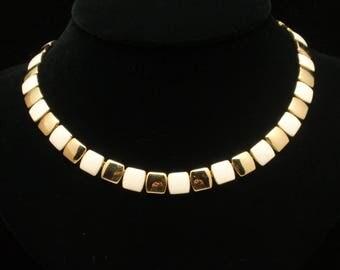 Two-Tone Napier Necklace Vintage Enamel
