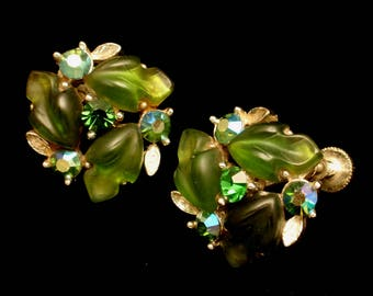 Green AB Rhinestone Earrings Vintage Lisner
