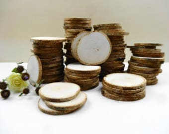 "3"" Wood Slices, Birch Wood Slices, Tree Slices, Wedding Wood Slices, Woodworking, Rustic Wedding Decor,(E53),Set of 20"