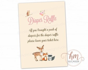 Woodland Baby Shower Diaper Raffle Sign, Diaper Raffle, Woodland baby shower, Woodland sign DIGITAL FILE HM112