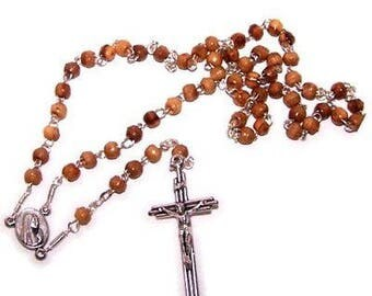 Top quality mini-beads olive wood Rosary ( 4mm beads - 13 inches )- with Cert...