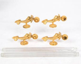 """VINTAGE Sherle Wagner 22 Gold Dolphin Crystal Towel Bar Set 16"""" Crystal Rods -- Gold Plated over Brass Made in Italy -- TWO Sets Available."""