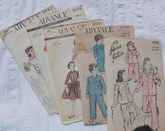 """Vintage Lot of 5 """"Advance"""" Patterns for Children's Clothes:  assemblage, scrapbooking, paper crafting"""