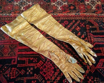 Rustic Fantastic GOLD GLOVES, Wonder Woman Reincarnated, Vintage Delight, gLOVE it! Painted Leather