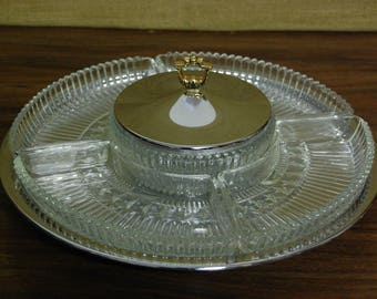 Silver Plate Liner Trays Glass Holder
