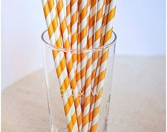 ON SALE - 15% OFF 25 White and Orange Striped Paper Straws Halloween - Additional Items Ship Free!!!