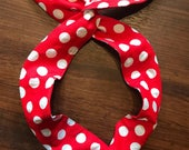 Red with White Dots Wire Twist Headband, Rosie the Riveter