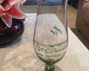 "Vintage Pat O'Briens Hand Blown Hurricane Glass New Orleans LA Have Fun 10"" tall"