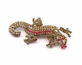Vintage Czech Bohemian glass rhinestone figural lizard pin brooch 346-70