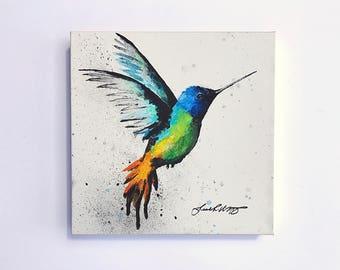 Original Golden-Tailed Sapphire Hummingbird painting No.2