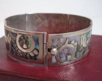 ART DECO BRACELET Sterling Silver Abalone Los Ballesteros ~ Taxco Mexico