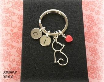 Valentine kitty cat keyring - Personalised Valentine's gift - Cat lover gift - Valentine gift for her - Crazy cat lady - Cat keychain - UK