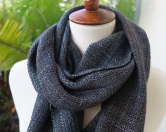 Handyed Handwoven Green Blue Scarf