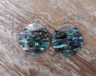 Silver and abalone earrings - silver shell earrings