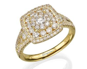 Square Engagement Ring, Art Deco Ring, Engagement band, Gispandiamonds, Art Deco Engagement Ring, Unique Engagement Ring, Vintage Ring