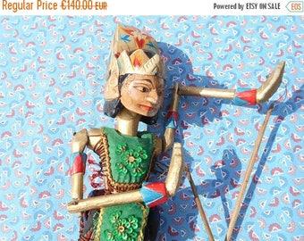 10 % SALE Wayang golek puppet, vintage Indonesian wooden rod puppet from Java. Javanese folk art.