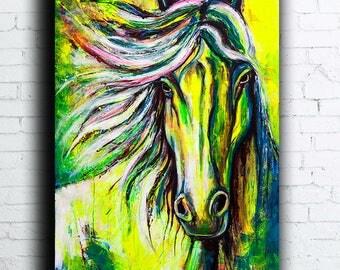 Fine Art Painting Portrait horse  UV Glow in the dark Fluorescent large Contemporary Original Acrylic coloured Wall Anna Bulka