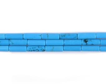 """13mm Dyed Hwolite turquoise Cylinder tube loose gemstone beads 16"""""""