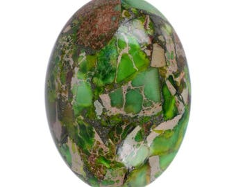 2pcs of 25mm Green sea sediment jasper pyrite oval flatback cab cabochon