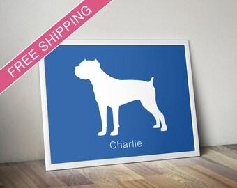 Personalized Cane Corso Silhouette Print with Custom Name - Cane Corso art, Italian Mastiff, dog poster, dog home decor