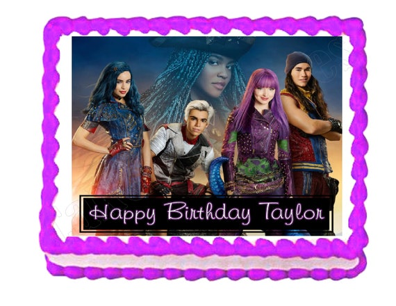 Disney Descendants 2 Party Decoration Edible Cake Image Cake