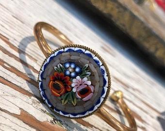 Petite floral micromosaic bracelet