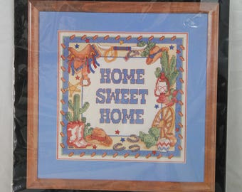 """Dimensions Stamped Cross Stitch """"Western Home Sweet Home"""" 12x12"""