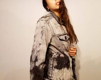Handmade studded acid wash jacket