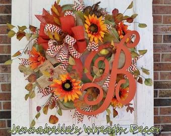 Fall Wreath, Autumn Decor, Burlap, Deco Mesh Wreath, Sunflowers, Edwardian Monogram, Twine Cross, Burnt Orange