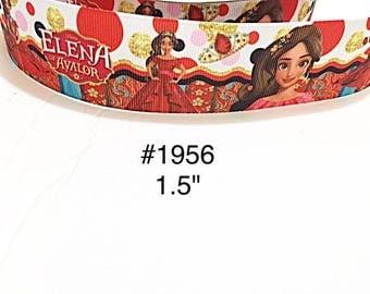 "3 or 5 yard - 1.5"" Princess Elena wearing Red Gown Polka Dot Motif Grosgrain Ribbon Hair bow"