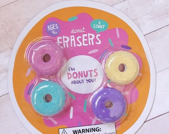 Assorted Donuts Eraser Pack 4pc Stationery Supplies