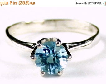 On Sale, 20% Off, Swiss Blue Topaz, 925 Sterling Silver Ladies Ring, SR311