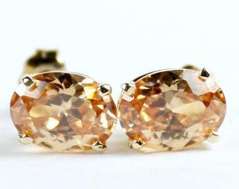 On Sale, 30% Off, Champagne CZ, 14KY Gold Post Earrings. E002